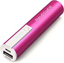 Portable Charger RAVPower Luster Mini 3350mAh External Battery Pack Battery Bank Most Compact Power Bank with iSmart 2.0 Technology (1A Output & 1A Input) for Smartphones and More – Pink