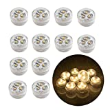 12pcs Flameless LED Tea Light Candles Battery Operated Waterproof Submersible Decorative Lights