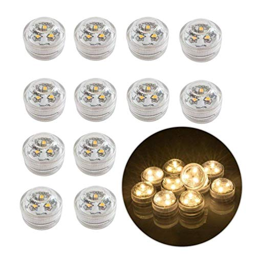 12pcs Flameless LED Tea Light Candles Battery Operated Waterproof Submersible Decorative Lights for Vase Fish Tank Wedding Centerpiece Halloween Party Lights Warm White