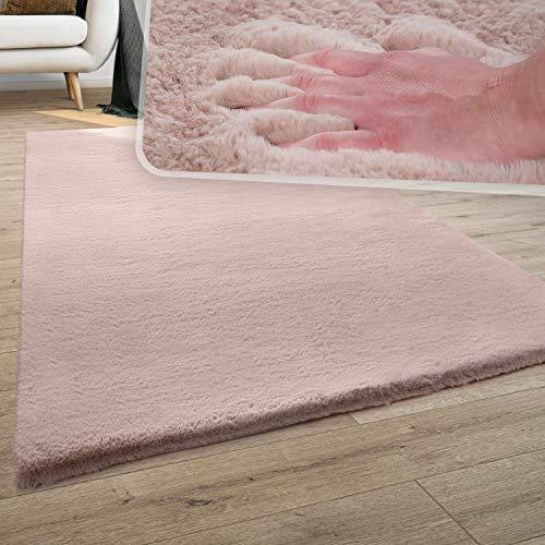 Teppich Wohnzimmer Kunstfell Plüsch Hochflor Shaggy Super Soft Waschbar In Pink, Grösse:120x170 cm