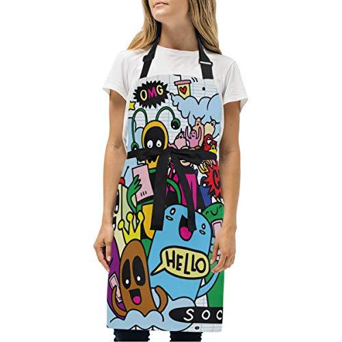 KISSENSU Delantal,Line Art Doodle Monster Conjunto de Objetos y símbolos El Tema de Las Redes sociales,Babero de Cocina Unisex con Cuello Ajustable para cocinar jardinería,tamaño Adulto