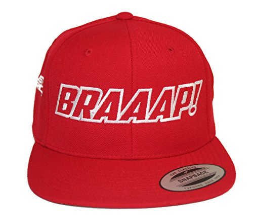 Just Ride Braaap Hat Flat Bill Snapback Motocross Sled (RED-White)