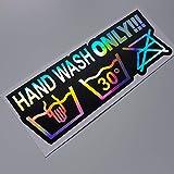 folien-zentrum Hand Wash Only 17x6cm Auto Aufkleber Oilslick schwarz Farbwechsel Rainbow Flip Flop Hologramm Metallic Effekt JDM Tuning Sticker Decal Fun
