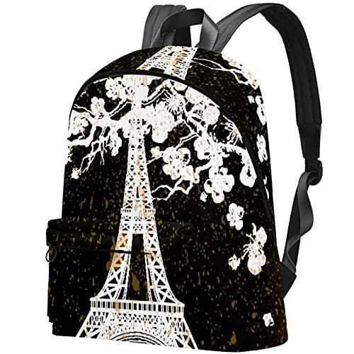 Staroutah Mochila Mochila Mochila Mochila escolar Senderismo Mochila Alta capacidad y lindo Aprender al aire libre Torre Eiffel de la vendimia para mujeres y hombres