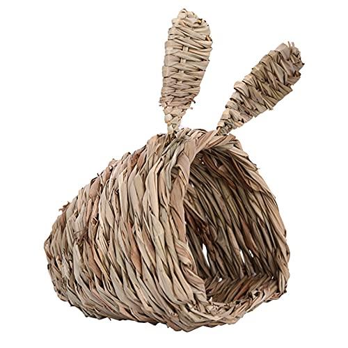 ANCLLO Casa de Conejos, escondite de Conejos, escondite de Hierba Tejido a Mano, cómoda casa de Juegos para Masticar para Conejillos de Indias, Chinchilla, Animales pequeños