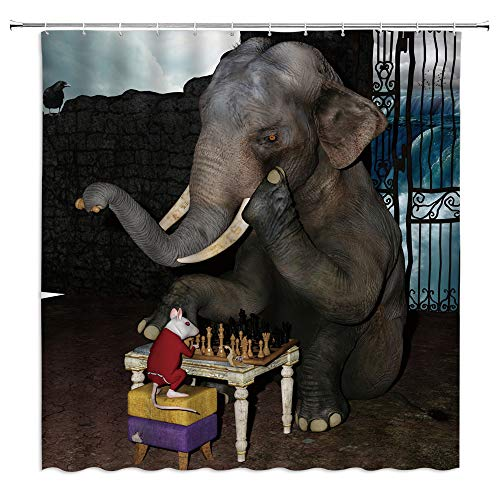 BCNEW Funny Animal Shower Curtain Elephant and Mouse Playing Chess Humorous Fairy Tale Waterfall Home Polyester Fabric Kitchen Bathroom Decor Set 70×70 Inch with Hook Hole
