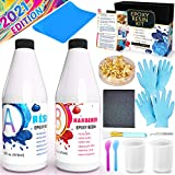 Insnug Epoxy Crystal Clear Resin Kit - Art and Craft Supplies for Beginners Starter Making Jewelry Accessories 32oz Tool with Keychains Material Including Silicone Measuring Cups and Mats Stuff Mold