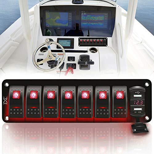 12V 24V Rocker Switch Panel 8 Gang Toggle Switches Waterproof ON/Off Red LED Backlight with 4.8 Amps Dual USB Voltmeter for Boat Car Marine Truck Trailer Caravan