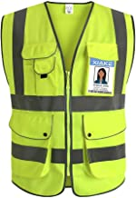 XIAKE Class 2 Reflective Safety Vest with 9 Pockets and Front Zipper High Visibility Safety Vests,ANSI/ISEA Standards(X-Large,Yellow)