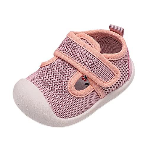 Zapatos para bebé de 6 a 12 meses, zapatos para aprender a andar, zapatos para niñas, zapatos para niños, de malla, transpirables, con cierre de velcro, Rosa., 23.5