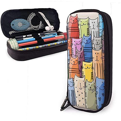 Estuche de lápices de color gato encantador, bolsa de maquillaje de bolsa de lápiz de gran capacidad