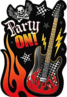 amscan Rock On Heavy Metal Themed Party Postcard Invitations with Seals Kit, Paper, 4