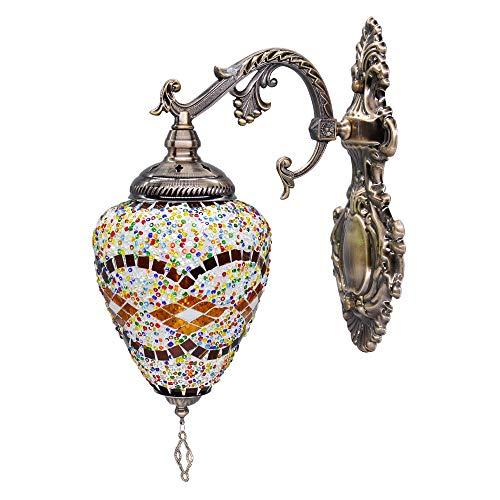 Artpad Tiffany mozaïek wandlamp licht met E27 warm witte led, Marokkaanse Boheemse stijl decoratie wandkandelaars licht voor loft, koffie, bar, restaurant