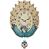 JFya Creative Peacock Wall Clock, American Home Art Fashion Mute Clock Personality Wall Decoration Electronic Clock (Color : B)