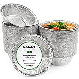Matana 100 Bandejas Redondas Desechables de Aluminio - 320ml