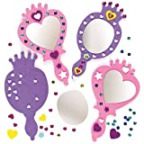 Baker Ross ET595 Princess Mirror Kits, Fun, Foam Craft Project for Kids — Ideal for Kids to Decorate, Arts and Crafts, Gifts, Keepsakes and More (Pack of 4)
