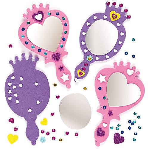 Baker Ross Prinzessin-Spiegel-Set - Schaumstoff - für Kinder zum Basteln - für Mottoparty und Karneval - 4 Stück