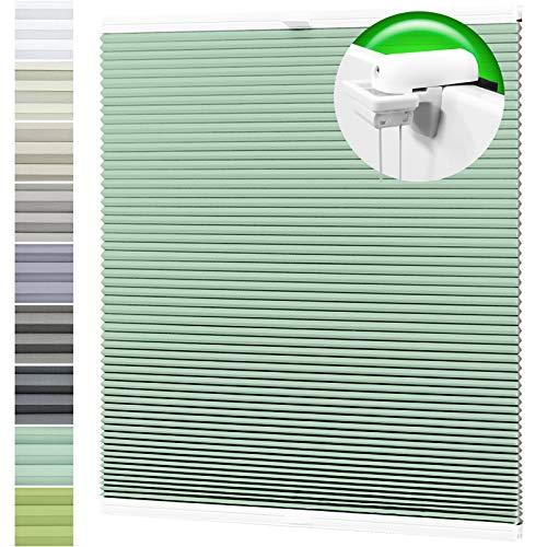 Horivert Wabenplissee Verdunklung Thermo Plissee Klemmfix Ohne Bohren Minzegrün Rückseite Weiß 55x140 cm