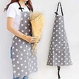 MEJOSER Sterne Schürze mit Tasche Verstellbare Kochschürze Küchenschürze Latzschürze Grill Bakcen Damen Schürze für Frauen Kochen Arbeit Hausarbeit (Grau) - 3
