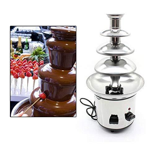 LKNJLL 4 Niveles Comercial Acero Inoxidable Fondue de Chocolate Fuente de 170W 1 kg Capacidad