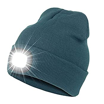 Bosttor LED Beanie Hat with Light Rechargeable Bright LED Headlamp Cap Unisex Winter Warm Knitted Hats Headlight Torch for Running Hiking Camping,Tech Gifts for Men Women Handyman Teens Dark Teal