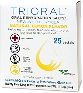 TRIORAL Natural Lemon w/Stevia Oral Rehydration Salts (World Health Organization (WHO) New Formula for Food Poisoning, Hangover Prevention and Relief, Dehydration from Diarrhea (25 Packets/Box)
