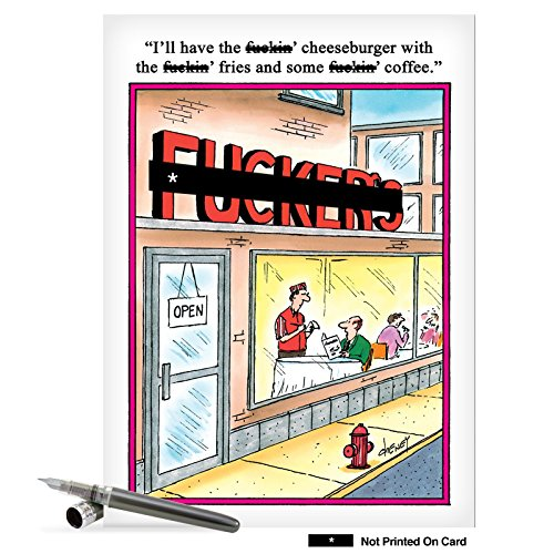 F-ckers - Hilarious Adult Birthday Notecard with Envelope (Big 8.5 x 11 Inch) - Cartoon Diner, Funny Birthday Greeting Card...