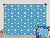 Blue Sky White Clouds Theme Photography Background Cartoon Boy's Story Kids Birthday Party Photo Background Baby Shower Newborn Cake Table Banner Studio Props Vinyl 5x3ft