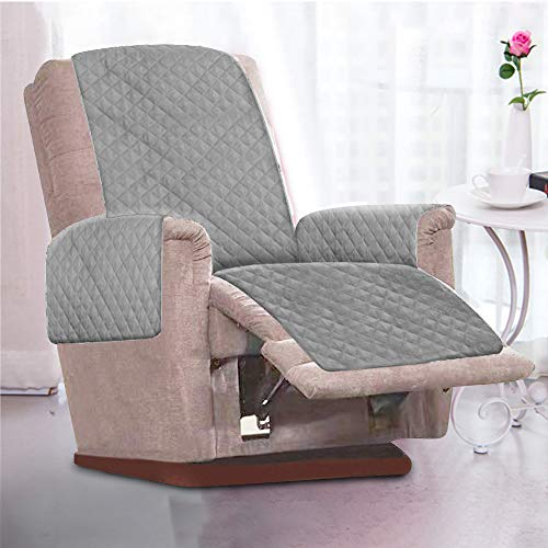 Littleduck Sesselschoner Relaxsessel Sesselauflage Relax,Sofaüberwurf 1 Sitzer Sesselschutz mit 2,5 cm Breiten verstellbaren Trägern (Grau)