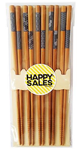 Happy Sales HSCH7/S, 5 Pairs Japanese Blue Sashiko Design Chopsticks Gift set,...