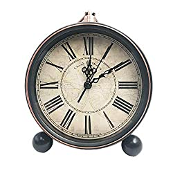 Maxspace Classic Retro Clock, 5.5 European Style Vintage Silent Desk Alarm Clock Non Ticking Quartz Movement Battery Operated, HD Glass Lens, Easy to Read (Sz03)