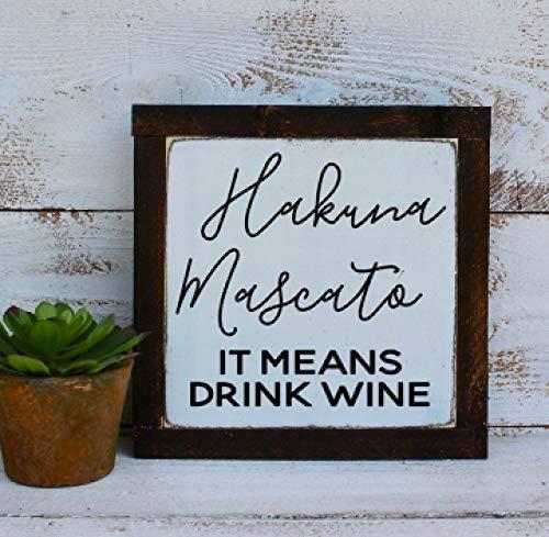H34565ard Hakuna Moscato Het betekent drinken wijn hout bord ingelijst thuis decor voor wijnliefhebbers boerderij stijl geweldig cadeau