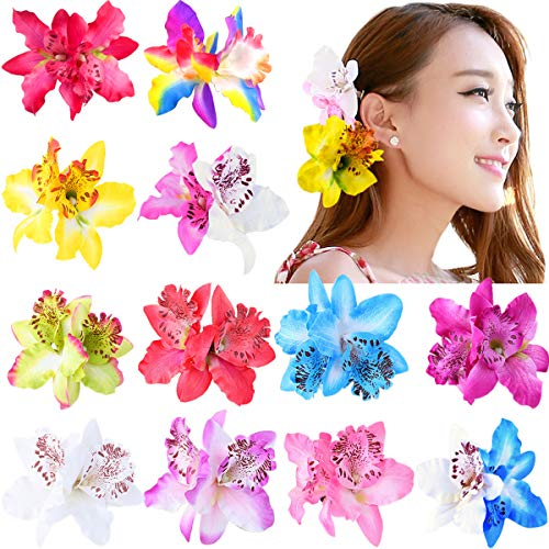 12 Colors Multicolor Women Big Double Chiffon Orchid Flower Bohemian Flowers Hair Clip for Bridal Wedding Accessory Hairclip Hair Pins Hair Barrette Accessories