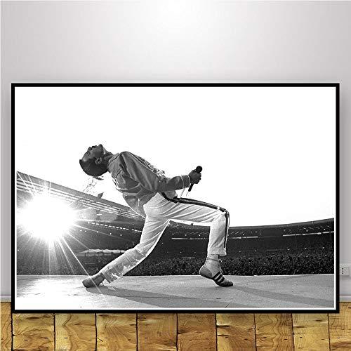 JWJQTLD Impresión En Lienzo Freddie Mercury Poster and Prints Bohemian Rhapsody Queen Wall Art Canvas Painting Cuadros De Pared para Sala De Estar Decoración del Hogar, 50X70Cm Sin Marco