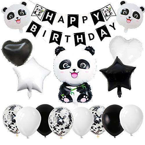 Gxhong Panda Party Geburtstagsdeko Luftballons, Kindergeburtstag Deko mit Happy Birthday Banner Konfetti Luftballons Herz Folienballons Stern Folienluftballons für Mädchen Jungen Party