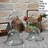 Chemin_de_camp 2 große Gartenglocken, Salat, Melone, Glas, Ø 38 cm