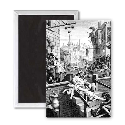 Gin Lane, 1751 (engraving) (b/w photo) by.. - 7,5x5 cm Kühlschrankmagnet - großer Magnetknopf - Magnet