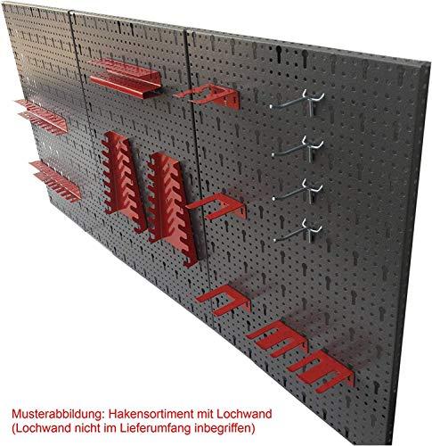 Werkzeughaltersortiment für Euro-Lochwand mit 22 Teilen in Rot – Silber - 2