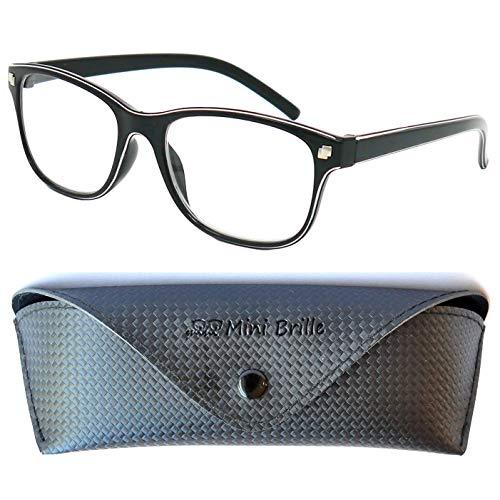 Line Nerd Lesebrille mit großen Gläsern - mit GRATIS Brillenetui und Brillenputztuch, Kunststoff Rahmen (Schwarz), Lesehilfe Damen +2.0 Dioptrien