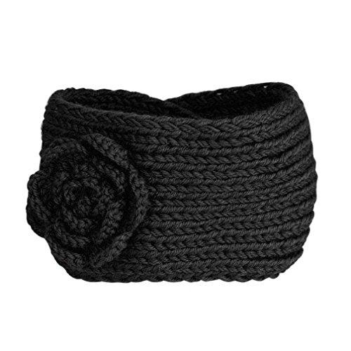 POachers Bandeau Cheveux Femme Hiver Chaud Fleurs Tricot Bande de Cheveux Bandeaux Elastique Serre Tete (Noir)