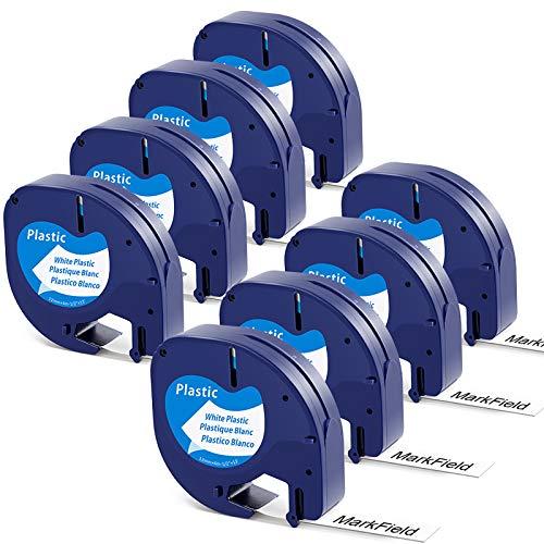 MarkField Plastico Cinta de Etiquetas compatible para Dymo Letratag Cinta Etiquetas Plastic Label 12mm x 4m,Recambios Dymo 91201 S0721610 para LT-100h LT-100T LT-110T XR XM QX50, Negro sobre Blanco