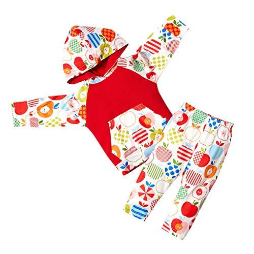 Bébé Filles Hoodies+Pantalons 0-3ans Deux Pièces, Ewendy Enfants Ensembles en Pomme Colorée Sweat-Shirt à Casquette & Pantalon des Gamins Pur Coton Chaud Pullover à Chapeaux Costume