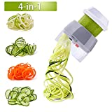 4 in 1 Spiralizer Hand Held Vegetable Spiralizer Slicer Food Cutter Handheld Spiral Slicer