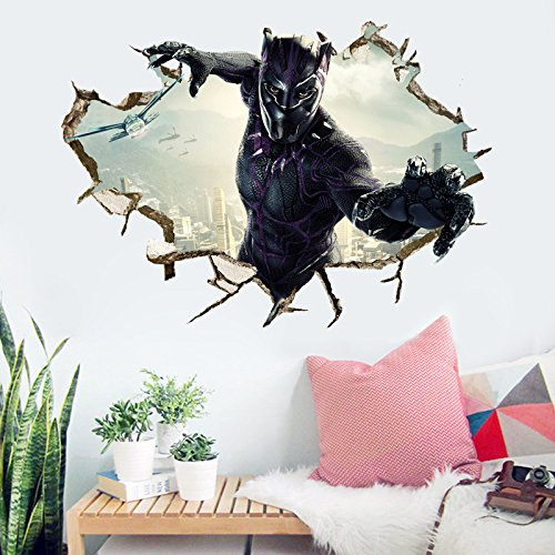 Black Panther Wall Decal Cartoon 3D Marvel Wall Stickers Avengers Cartoon for Kids Bedroom