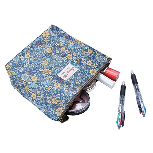 Parateck Floral Print Zipper Cosmetic Makeup Case Pouch Travel Bag Tote, Large (Blue)