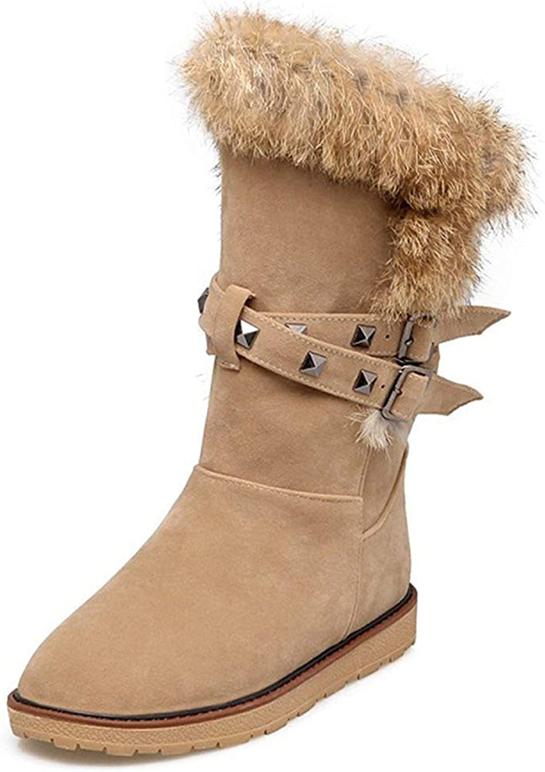 Lelehwhge Women's Warm Faux Suede Fur Rivets Studded Straps Buckle Round Toe Round Toe Flats Slip in Mid Calf Snow Boots Apricot 10 M US