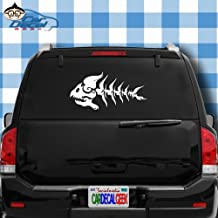 Car Decal Geek Fish Skeleton Vinyl Decal Sticker Bumper Cling for Car Truck Window Laptop MacBook Wall Cooler Tumbler | Die-Cut/No Background | Multi Sizes/Colors Silver, 20
