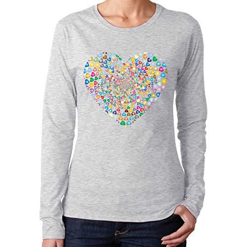 PUTAIN - Camisetas de manga larga para mujer, color negro, Corazón prismático Vórtex Corazón, XXL
