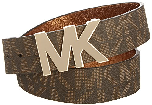 Michael Kors Signature Logo Wide Belt (Brown, Small)
