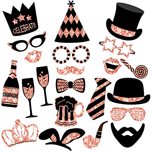 Rose Gold Photo Booth Props (No Glitter) - Mix of Hats, Lips, Mustaches, Crowns and More (22 pcs) - Durable and Vibrant - Perfect for Birthday Parties, Weddings and More
